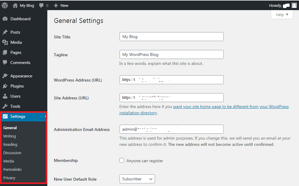 Settings Section