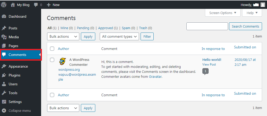 Comments Section How To Use wordpress Dashboard? WordPress Dashboard का use कैसे करे