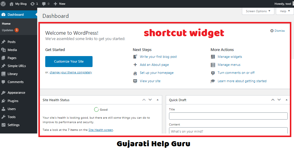 wordpress dashboard shortcut widgets