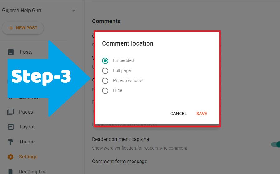 Save settings