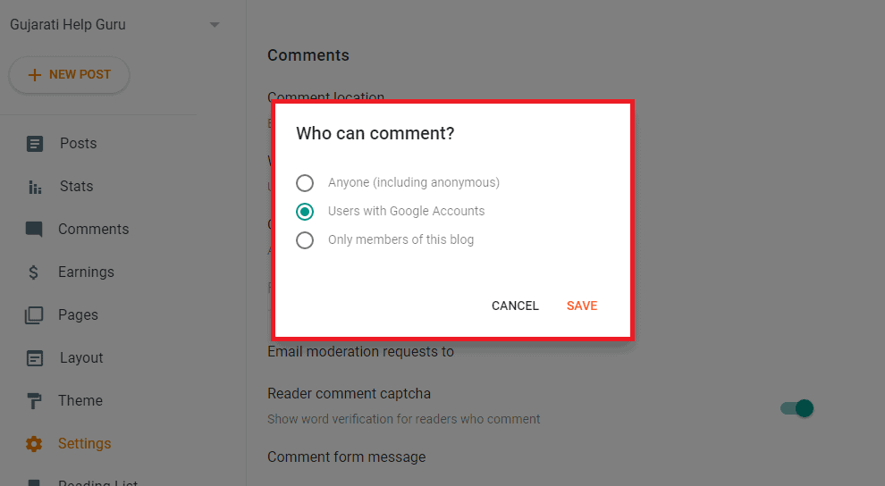 Who can comment Settings
